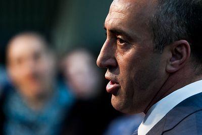 AAK Chairman Ramush Haradinaj, during a press conference in Pristina, Kosovo's capital city. (Picture by Vedat Xhymshiti, for Zuma Press