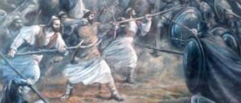 """Pikturë nga """"Beteja e Savrës"""" dhe fazës së re të ndërhyrjes osmane në trevat shqiptare. Piktura është realizuar nga Lazar Taçi, dhe është fotografuar në muzeun historik të Lushnjes."""