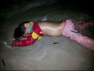 This is a set of unverified pictures, posted by Emma Buonvino, via her facebook account. The dead bodies of men, women and children who are meant to have tried to reach towards European shore, are supposed to be of those middle eastern refugees fleeing civil war in Syria and elsewhere in the conflicts across Middle East.