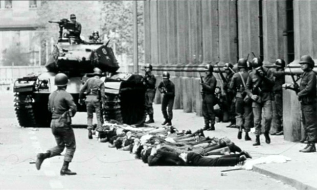 Chilean troops make arrests during the military coup that overthrew President Salvador Allende. Photograph: Universal History Archive //Rex Features