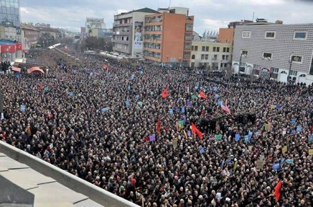 February 17th, 2016 anti-government demonstration in Prishtina, capital city of Kosovo.